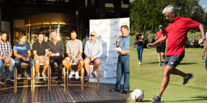 Famous liverpool players playing footgolf at Heritage Golf Club